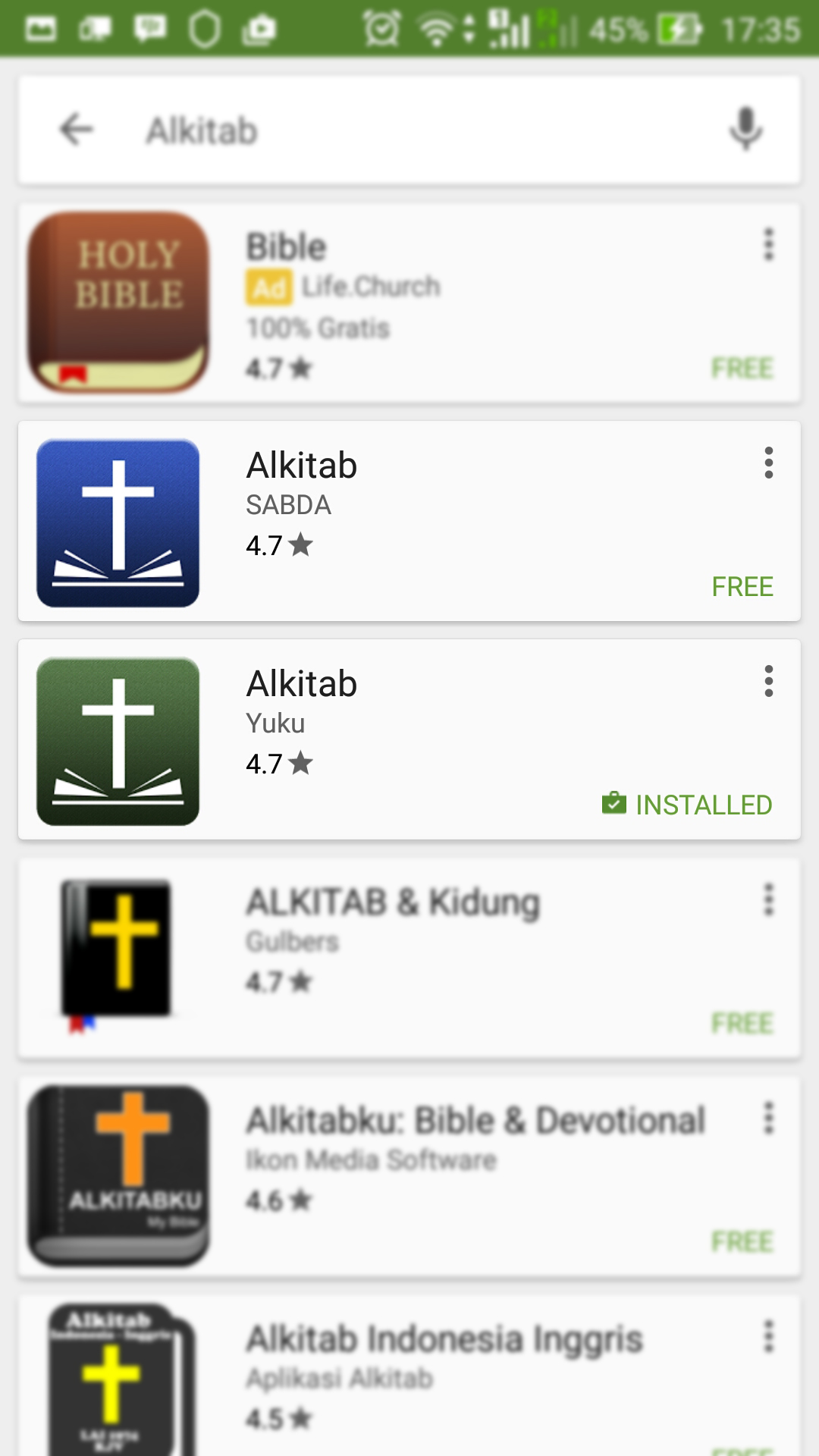 Aplikasi alkitab untuk pc